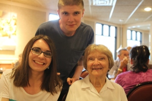 Grandma Theda with her two oldest great-grandchildren