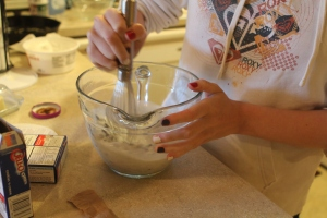 Beat with a wire whisk 2 minutes or until well blended (Mixture will be thick).