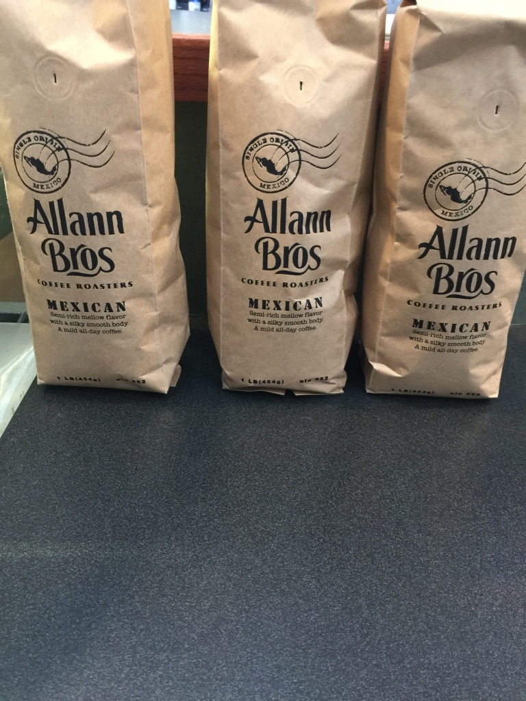 There are plenty of bags of coffee beans for purchase, in case you want to brew some for later at home....
