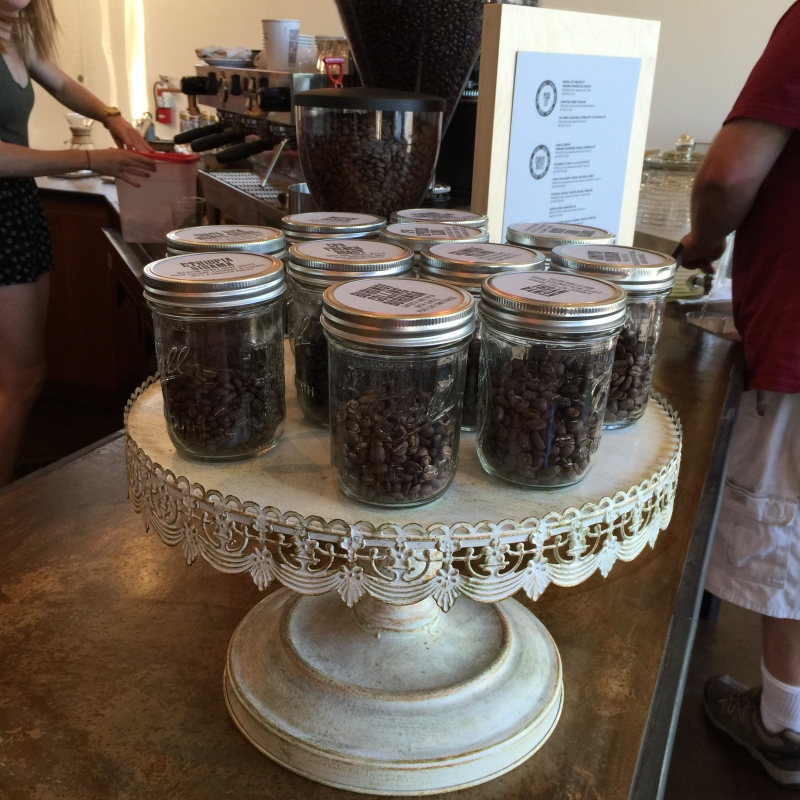 I thought that selling coffee beans in canning jars was clever!